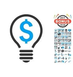 Patent bulb icon with 2017 year bonus symbols vector