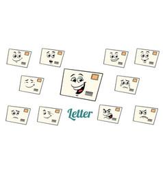 postal envelope letter emotions emoticons set vector image vector image