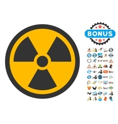 Radioactive icon with 2017 year bonus symbols vector