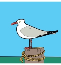 Sea gull sitting on the pier vector