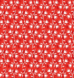 seamless floral pattern white flowers on red vector image