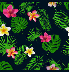 seamless hand drawn tropical pattern with orchid vector image vector image