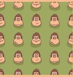 Seamless pattern with monkey faces vector