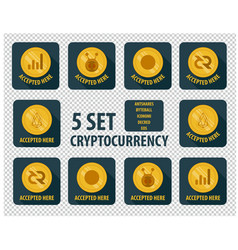Set of different cryptocurrency flat style on a vector