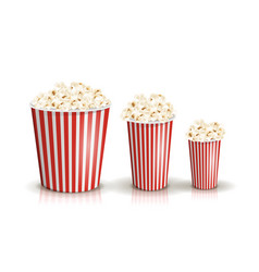 Set of full red-and-white striped popcorn vector