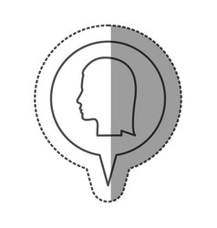 sticker monochrome of circular speech with vector image
