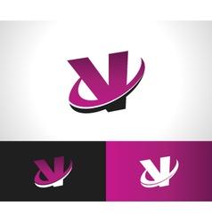 Swoosh alphabet icon v vector