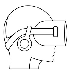 vr headset icon outline style vector image