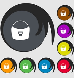 woman hand bag icon sign Symbols on eight colored vector image