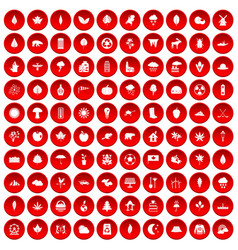 100 leaf icons set red vector