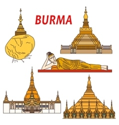 Ancient buddhistic temples of burma colorful icon vector