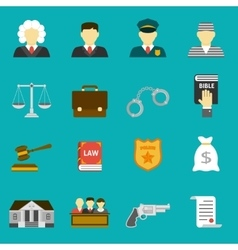 Law and justice flat icons set vector