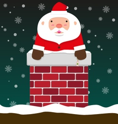Cute fat big santa claus come out of chimney vector