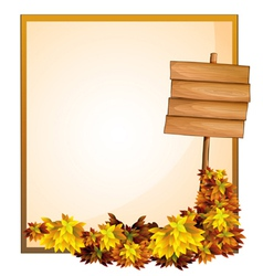 An empty space and the empty wooden signboard vector image