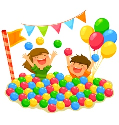 kids in a ball pit vector image