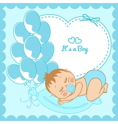 Sleeping baby boy in a blue frame vector