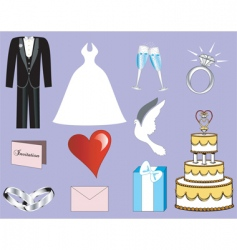 Wedding button icons vector