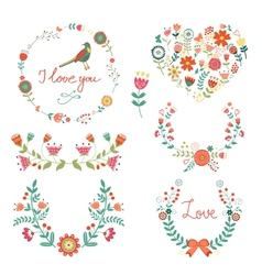 Elegant floral graphic elements vector