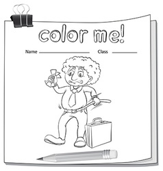 A color me worksheet with a man vector