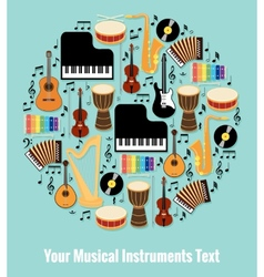 Assorted musical instruments design with text area vector