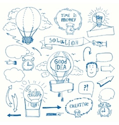 Creative doodles thinking concept vector