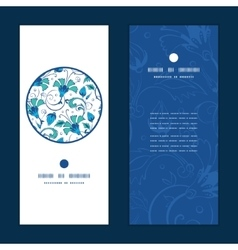 Blue green swirly flowers vertical round vector