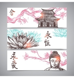 Asian banners set vector