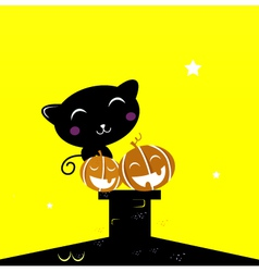 Black halloween cat silhouette sitting on the roof vector