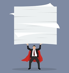 Businessman superhero lifting a lot of documents vector