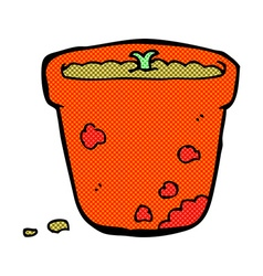 Comic cartoon flower pot vector