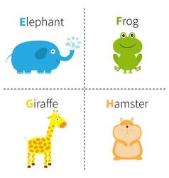 Letter e f g h elephant frog giraffe hamster zoo vector