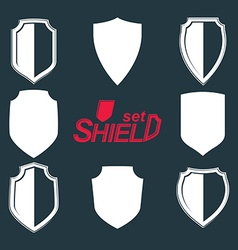 Collection of grayscale defense shields protection vector