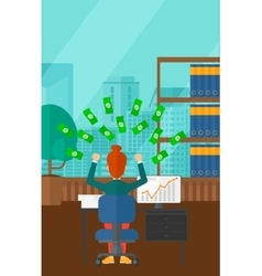 Successful business woman with money vector