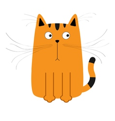 Cute red orange and black cartoon cat big mustache vector