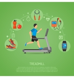 Runner on treadmill concept vector