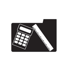 Flat icon in black and white calculator line vector