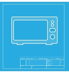 Microwave sign  white section of icon vector