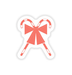paper sticker on white background candy bow vector image