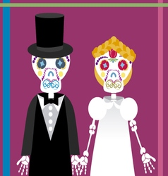 Wedding between skeletons 2 vector