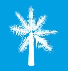 Big palm tree icon white vector