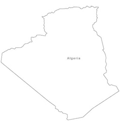 Black White Algeria Outline Map vector image vector image