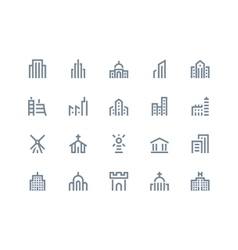 Buildings icons Line series vector image