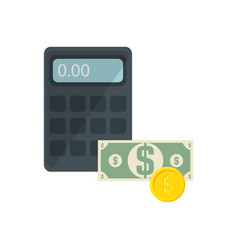 Calculator and money icons vector