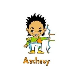Cartoon Boy Archer with bow vector image vector image