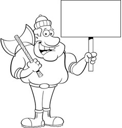 cartoon lumberjack holding a sign vector image vector image