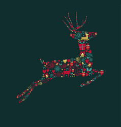 christmas gold decoration icons in deer shape vector image