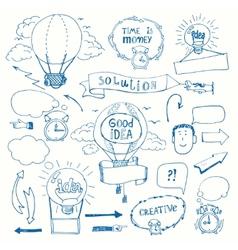 Creative doodles thinking concept vector