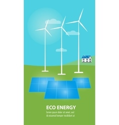 Eco energy banner Sun and wind power generation vector image vector image