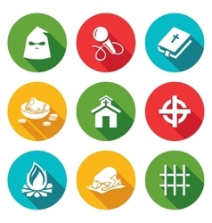 False religion sect icons set vector