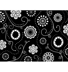 Floral black and white pattern vector image vector image